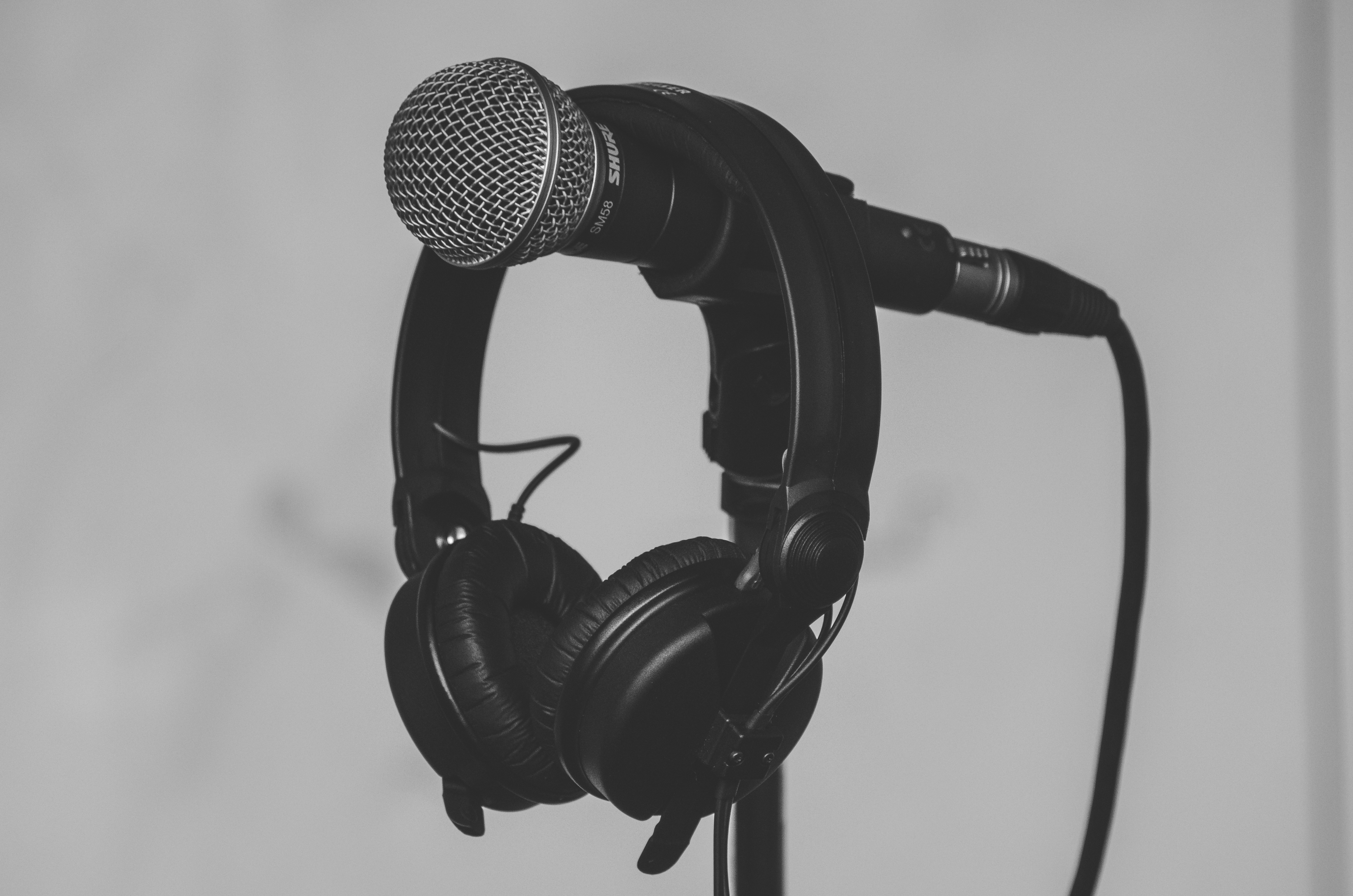 A microphone and a pair of headphones
