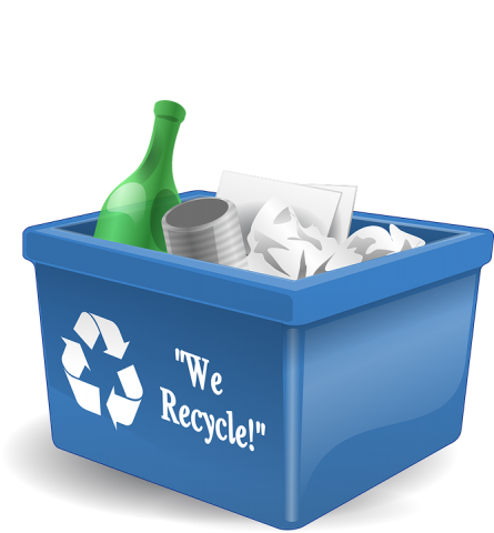 Blue recycle bin with recyclable materials inside